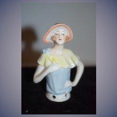 Old Doll Miniature Half Doll China Head Fancy Art Deco