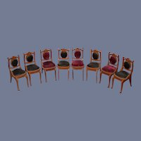 Sweet Vintage Doll Miniature Chairs Upholstered Velvet Dollhouse