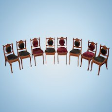 Sweet Vintage Doll Miniature Chairs Upholstered Velvet Dollhouse