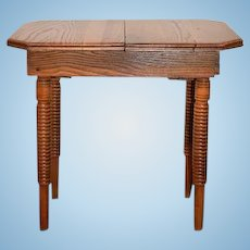 Old Doll Size Wood Table W/ Turned Spindle Legs Extension Table Oak