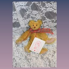 Vintage Artist Teddy Bear Sue Kruse w/ Original Tag Jointed Mohair Perfect Doll Friend