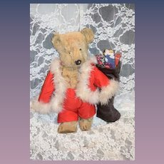 Old Teddy Bear Mohair Jointed Button Eyes Dressed as Santa Adorable