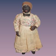 Old Black Doll Papier Mache Terracotta Black Americana Folk Art