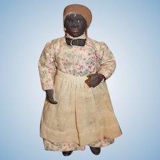 Old Black Doll Papier Mache Terracotta Black Americana Folk Art