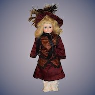 Antique Doll Wax Over Papier Mache Glass Eyes W/ Wonderful Clothing and Matching Bonnet
