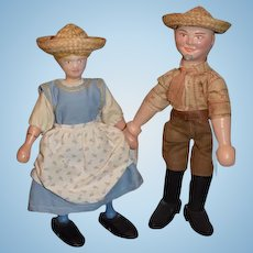 Antique Doll SET Schoenhut Farmer Dolls Wood Carved Jointed