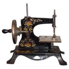 Old Doll Child Miniature Working Sewing Machine TINY Ornate Painting