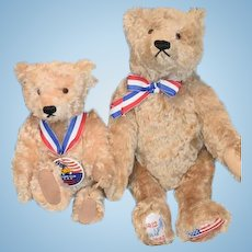 TWO Vintage Steiff Teddy Bears W/ Tags Otto and Sam Steiff Club Bear Jointed