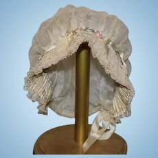 Gorgeous Antique Doll Bonnet Hat Silk Lined Lace and Flowers French Doll