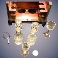 Antique French Wooden Doll's Cabinet W/ Miniature Decanter & Glasses Box Set