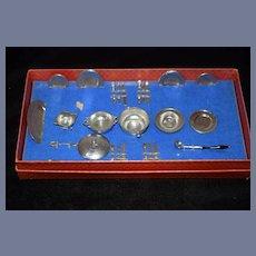 Old German Puppen- Tafel- Service Miniature Doll Serving Pieces W/ Utensils In Original Box Dollhouse