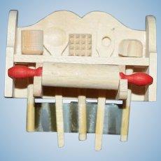 Artist Made Doll Miniature Dollhouse Kitchen Tools W/ Wood Shelf