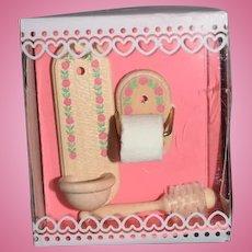 Vintage Doll Miniature German Bodo Hennig Wood Bathroom Set in Original Box Dollhouse