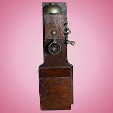 Old Doll Wood Miniature Telephone W/ Crank Handle Dollhouse