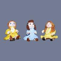 Three Miniature Dolls Artist Doll Dollhouse Adorable