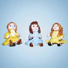 Three Miniature Dolls Artist Doll Dollhouse Adorable