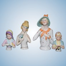 Old German Half Doll LOT China Head All Different Sweet
