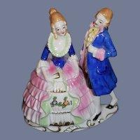 Old Powder Jar Victorian Couple China Head Doll Figurine