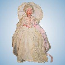 Old Half Doll Pincushion Pin Cushion W/ Parasol Ornately Dressed