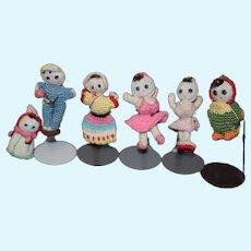 Vintage Huge Lot of Miniature Cloth Crochet Dolls Dollhouse Adorable
