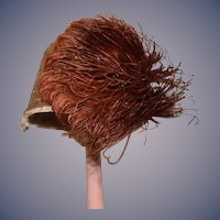 Old Hand Made Fancy Doll Hat Bonnet Big Feather Gold Lace French Doll