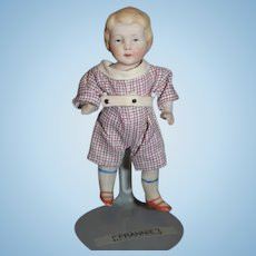 Antique Doll Miniature All Bisque Doll Jointed Dollhouse Cutest Little Boy
