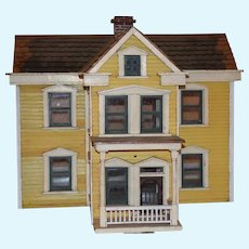 Antique Doll Miniature Dollhouse Gorgeous W/ Front Porch Two Levels WONDERFUL Yellow