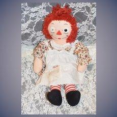Vintage Cloth Doll Raggedy Ann W/ Original Heart Shaped Paper Tag Johnny Gruelle