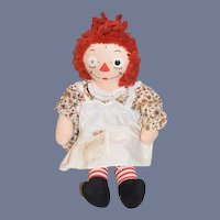 Vintage Cloth Doll Raggedy Ann W/ Original Heart Shaped Paper Tag Johnny Gruelle