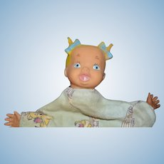 Vintage Doll Rubber Unusual Hand Puppet W/ Blanket