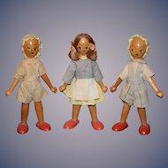 Vintage Doll Wood Doll Set Three Dolls Pegged Character Dolls