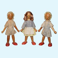 Vintage Doll Wood Doll Set Three Dolls Pegged Character Dolls