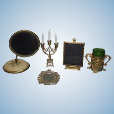 Old Doll Miniature Dollhouse Lot Mirror Candelabra Ornate Glass