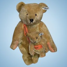 Vintage TWO Steiff Teddy Bears W/ Banner Brass Button Tag Jointed Mohair Mom and Baby Bear