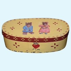 Vintage Artist Hand Painted Box Teddy Bear Signed Lynette 84