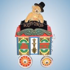 Vintage Steiff Circus Train Car W/ Dicky Teddy Bear Jointed W/ Tags Sweet Musical