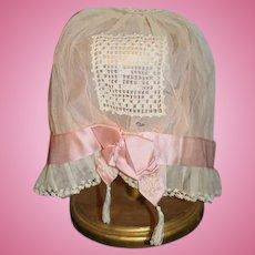 Antique Doll Lace Silk Doll Bonnet Fancy Hat