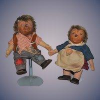 Vintage Steiff Hedgehogs Micki and Mecki Sweet Couple