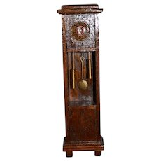 Vintage Doll Miniature Wood Grandfather Clock Dollhouse