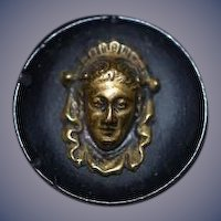 Old Miniature Victorian Lady Button Detailed Unusual