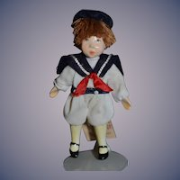 Adorable Miniature Artist Doll Sailor Boy W/ Original Tag & Signed Dollhouse Small People By Cecily