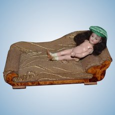 Old Doll Miniature Chaise Lounge Sofa Dollhouse Upholstered