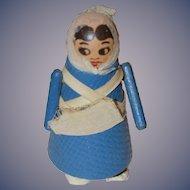 Old Wood Ramp Walker Lady Doll Works! Wood