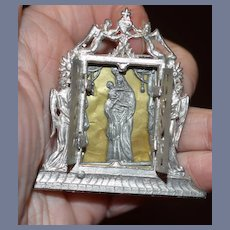 Antique Doll Miniature Religious Mary and Baby Jesus in a Ornate Box Frame Easel Back Ornate Frame