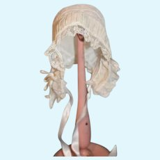 Old Doll Bonnet Puckered with Lace and Embroidery w/ Threaded Ribbon Hat
