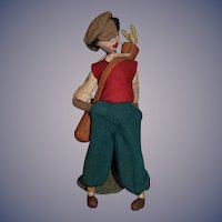 Vintage Cloth Doll Klumpe Golfer Man Adorable Character Smoking