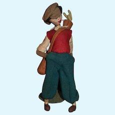 Vintage Cloth Doll Klumpe Golfer Man Adorable Character Smoking