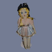 Sweet French Cloth Doll Painted Features Adorable