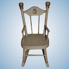 Antique Doll Wood Rocking Chair Sweet Fashion Doll Size