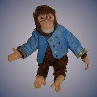 Old Doll Mohair Monkey Bellhop Jointed Schuco ? Sweet Glass Eyes